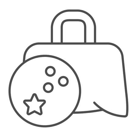 Bag with bowling ball thin line icon, bowling concept, Sport Equipment sign on white background, Bowling Ball Bag icon in outline style for mobile concept and web design. Vector graphics.