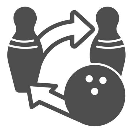 Bowling ball and pins tactics solid icon, bowling concept, sport game strategy sign on white background, Bowling competition icon in glyph style for mobile and web design. Vector graphics.