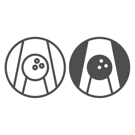 Bowling ball on lane line and solid icon, bowling concept, Bowling game sign on white background, ball on alley icon in outline style for mobile concept and web design. Vector graphics. 向量圖像