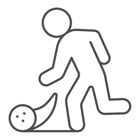 Man throwing bowling ball thin line icon, bowling concept, Bowling player sign on white background, Man throws ball icon in outline style for mobile concept and web design. Vector graphics.