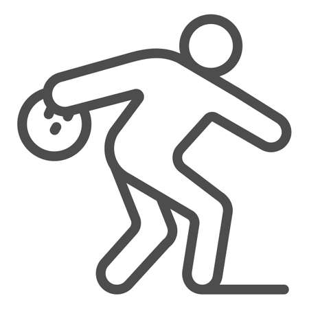 Man throwing bowling ball line icon, bowling concept, Bowling player sign on white background, Man throws ball icon in outline style for mobile concept and web design. Vector graphics. 向量圖像