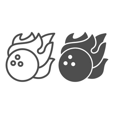 Bowling ball in fire flame line and solid icon, bowling concept, sport comet sign on white background, Bowling fire ball icon in outline style for mobile concept and web design. Vector graphics.