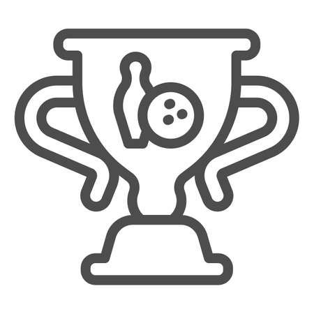 Cup of winner in bowling line icon, bowling concept, trophy cup sign on white background, Winner bowling award icon in outline style for mobile concept and web design. Vector graphics. 向量圖像