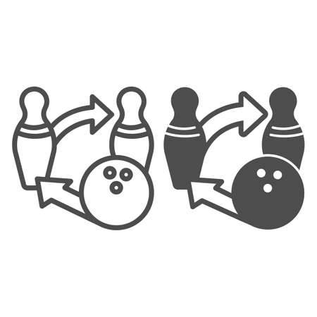 Bowling ball and pins tactics line and solid icon, bowling concept, sport game strategy sign on white background, Bowling competition icon in outline style for mobile and web design. Vector graphics. 向量圖像