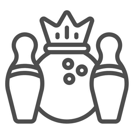 Skittles and bowling ball with crown line icon, bowling concept, Bowling game sign on white background, Skittles and ball icon in outline style for mobile and web design. Vector graphics. 向量圖像
