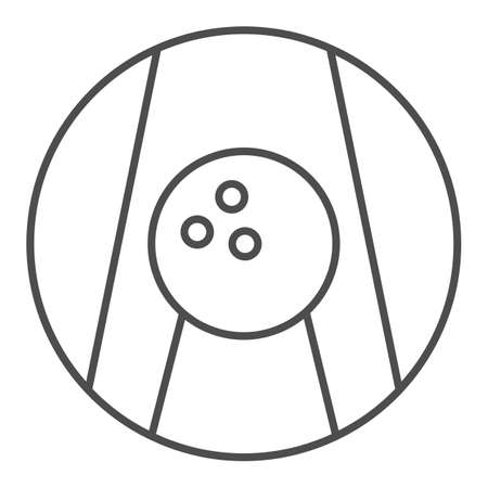 Bowling ball on lane thin line icon, bowling concept, Bowling game sign on white background, ball on alley icon in outline style for mobile concept and web design. Vector graphics. 向量圖像