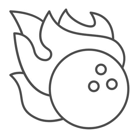 Bowling ball in fire flame thin line icon, bowling concept, sport comet sign on white background, Bowling fire ball icon in outline style for mobile concept and web design. Vector graphics. 向量圖像