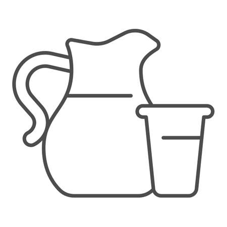Glass and jug of milk thin line icon, dairy products concept, Milk Jug with glass sign on white background, Fresh Milk in pitcher icon in outline style for mobile and web design. Vector graphics.