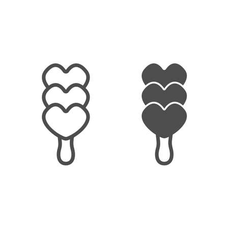 Ice cream on stick line and solid icon, icecream concept, Icecream heart vector sign on white background, three heart shaped balls outline style for mobile concept and web design. Vector graphics. Illustration