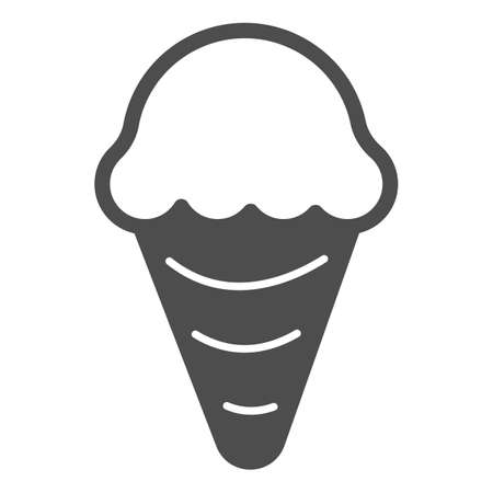 Ice cream in waffle cone solid icon, icecream concept, waffle cone vector sign on white background, ice cream glyph style for mobile concept and web design. Vector graphics.