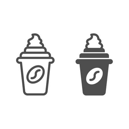 Coffee with cream in cup with lid line and solid icon, icecream concept, coffee cup vector sign on white background, coffee with cream outline style for mobile concept and web design. Vector graphics. Illustration