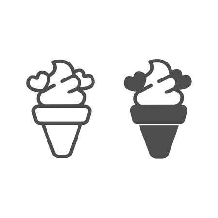 Ice cream waffle cone with hearts line and solid icon, icecream concept, choco hearts vector sign on white background, ice cream outline style for mobile concept and web design. Vector graphics. Illustration
