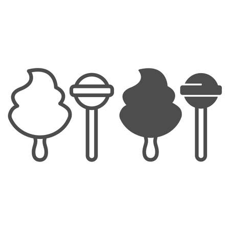 Cotton candy and sweet lollipop line and solid icon, icecream concept, cotton candy vector sign on white background, sweet lollipop outline style for mobile concept and web design. Vector graphics. Illustration