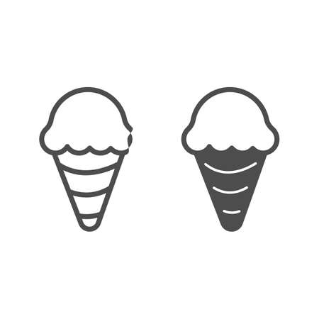 Ice cream in waffle cone line and solid icon, icecream concept, waffle cone vector sign on white background, ice cream outline style for mobile concept and web design. Vector graphics.