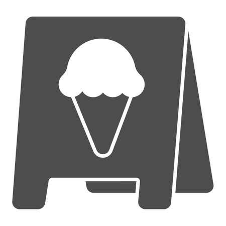 Pavement stand, ice cream solid icon, icecream concept, pavement stand vector sign on white background, pavement stand glyph style for mobile concept and web design. Vector graphics.