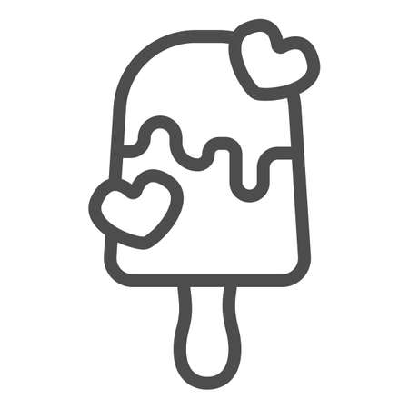 Milk chocolate ice cream line icon, icecream concept, milky choco vector sign on white background, icecream choco hearts outline style for mobile concept and web design. Vector graphics.