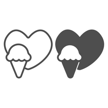 Heart and icecream waffle cone line and solid icon, icecream concept, icecream vector sign on white background, heart and waffle cone outline style for mobile concept and web design. Vector graphics.