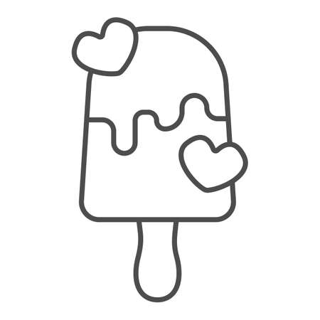 Milk chocolate ice cream thin line icon, icecream concept, milky choco vector sign on white background, icecream choco hearts outline style for mobile concept and web design. Vector graphics.