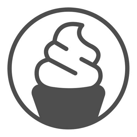 Ice cream sundae in waffle cup solid icon, icecream concept, waffle cup vector sign on white background, ice cream sundae glyph style for mobile concept and web design. Vector graphics.