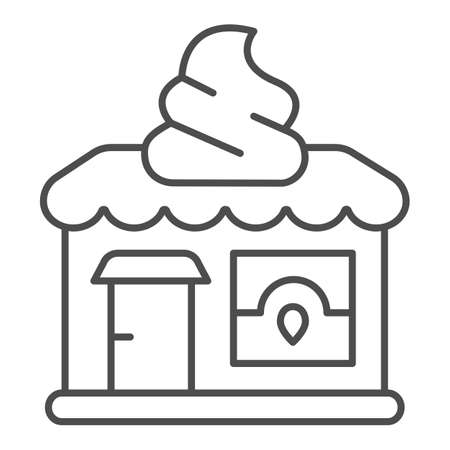 Ice cream shop thin line icon, icecream concept, ice cream shop vector sign on white background, shop outline style for mobile concept and web design. Vector graphics.