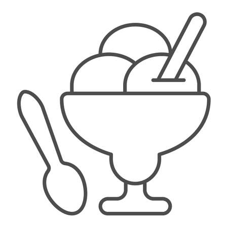 Glass vase ice cream thin line icon, icecream concept, three balls ice cream vector sign on white background, glass vase, spoon outline style for mobile concept and web design. Vector graphics.