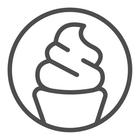 Ice cream sundae in waffle cup line icon, icecream concept, waffle cup vector sign on white background, ice cream sundae outline style for mobile concept and web design. Vector graphics.
