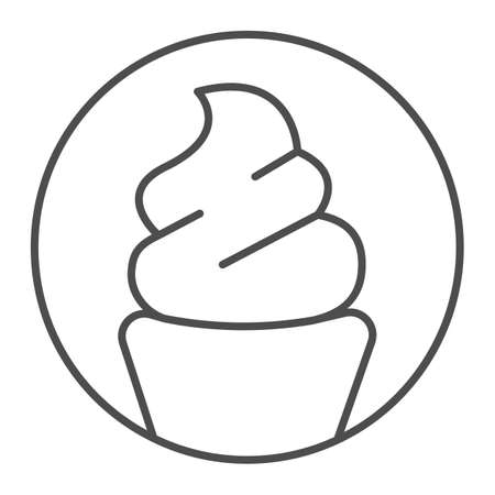 Ice cream sundae in waffle cup thin line icon, icecream concept, waffle cup vector sign on white background, ice cream sundae outline style for mobile concept and web design. Vector graphics. Illustration