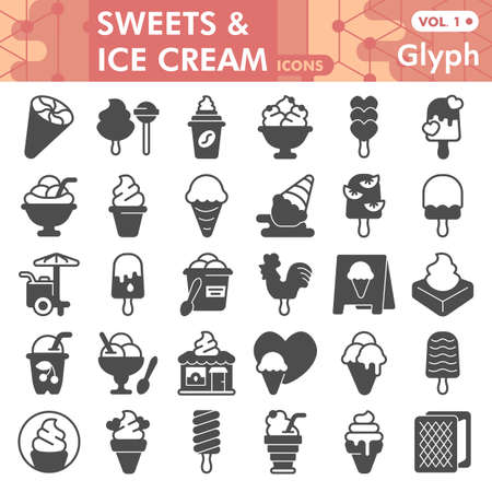 Ice cream solid icon set, turkish hamam symbols collection or sketches. Ice cream glyph style signs for web and app. Vector graphics isolated on white background.