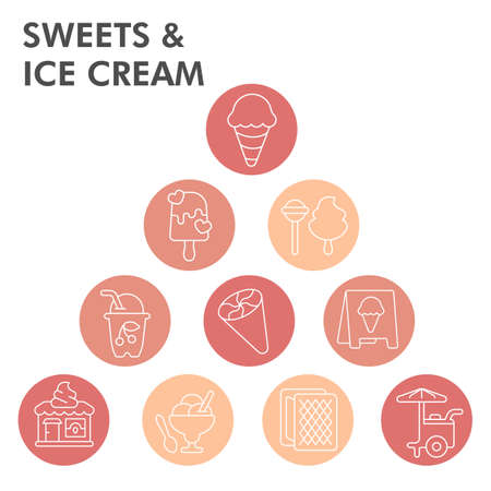 Modern Ice cream Infographic design template. Ice cream inphographic visualization with eight steps bubble design on white background. Ice cream template for presentation. Infographic illustration. Illustration