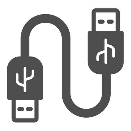 Universal seria bus cord solid icon, pcrepair concept, usb cable vector sign on white background, usb cable glyph style for mobile concept and usb cable web design. Vector graphics.