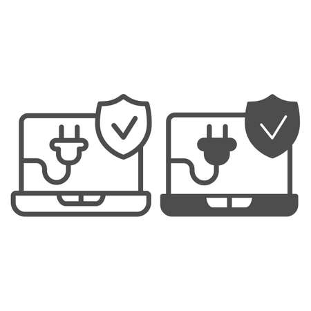 Working laptop line and solid icon, pcrepair concept, working laptop vector sign on white background, network plug and emblem checked outline style for mobile concept and web design. Vector graphics.