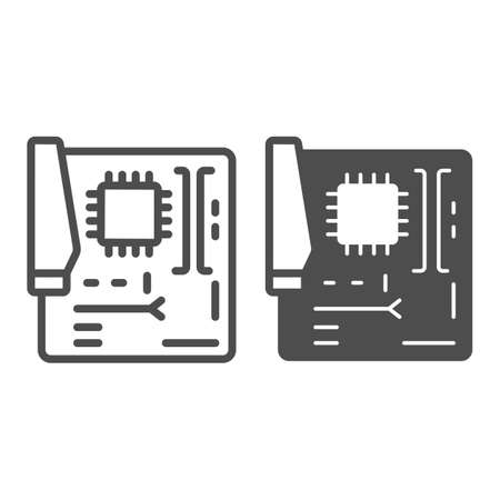 Motherboard line and solid icon, pcrepair concept, motherboard vector sign on white background, motherboard outline style for mobile concept and web design. Vector graphics.