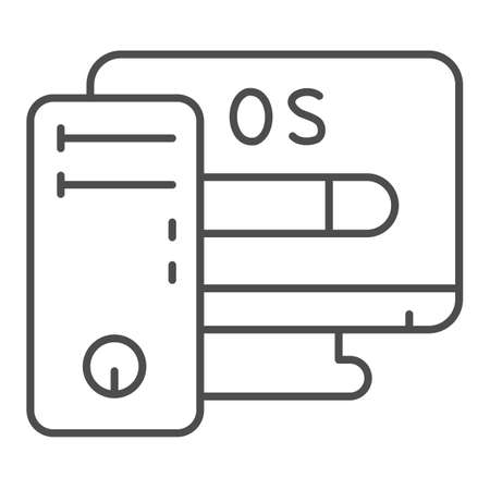 Computer and operating system thin line icon, pcrepair concept, operating system vector sign on white background, system, monitor outline style for mobile concept and web design. Vector graphic.