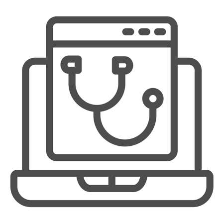Laptop program page with stethoscope line icon, pcrepair concept, laptop vector sign on white background, program page outline style for mobile concept and web design. Vector graphics.