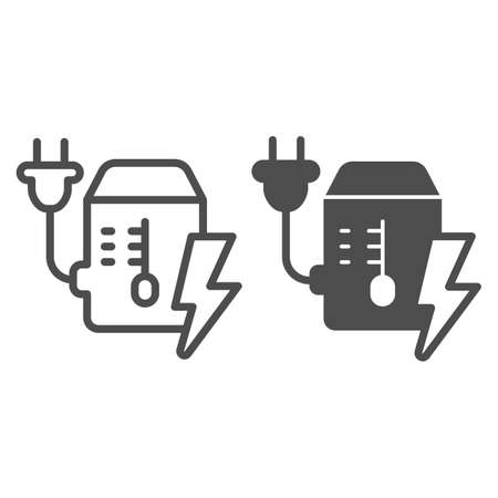 Power supply unit line and solid icon, pcrepair concept, mains plug and lightning vector sign on white background, power supply unit outline style for mobile concept and web design. Vector graphics.