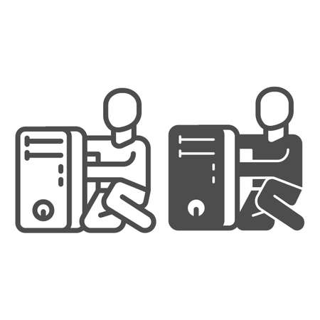 System unit and master line and solid icon, pcrepair concept, system unit, master vector sign on white background, man and computer outline style for mobile concept and web design. Vector graphics.