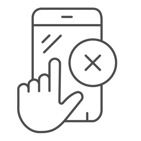 Smartphone touchscreen nonworking thin line icon, pcrepair concept, touchscreen vector sign on white background, phone with hand outline style for mobile concept and web design. Vector graphics.