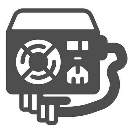 Power supply unit solid icon, pcrepair concept, fan, mains socket and connectors vector sign on white background, power unit glyph style for mobile concept and web design. Vector graphics.