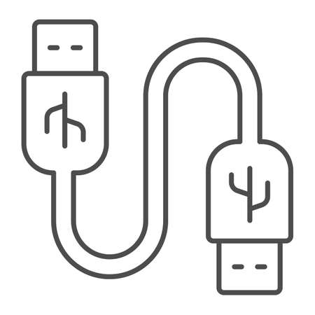 Universal seria bus cord thin line icon, pcrepair concept, usb cable vector sign on white background, usb cable outline style for mobile concept and usb cable web design. Vector graphics.