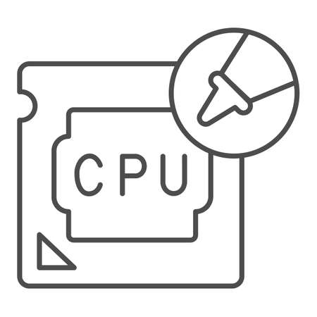 Processor and thermal paste in tube thin line icon, pcrepair concept, paste in tube vector sign on white background, processor outline style for mobile concept and web design. Vector graphics.