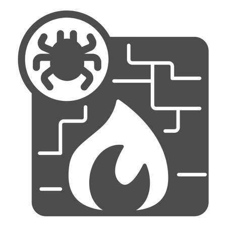 Virus and firewall solid icon, pcrepair concept, protection wall and fire vector sign on white background, wall and fire glyph style for mobile concept and web design. Vector graphics.