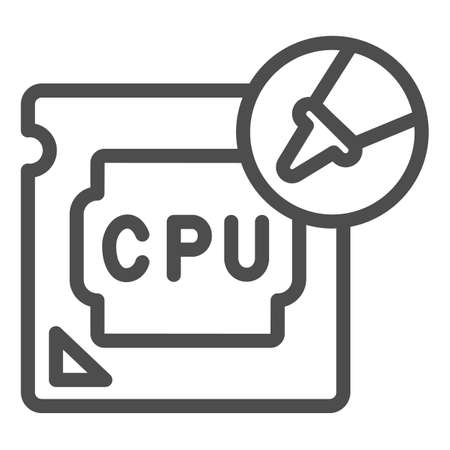 Processor and thermal paste in tube line icon, pcrepair concept, paste in tube vector sign on white background, processor outline style for mobile concept and web design. Vector graphics.
