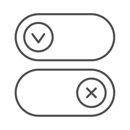 Buttons for active and inactive program add on thin line icon, pcrepair concept, button vector sign on white background, buttons outline style for mobile concept and web design. Vector graphics.