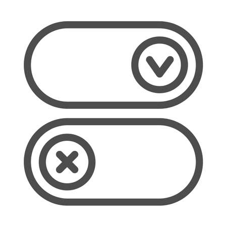 Buttons for active and inactive program add on line icon, pcrepair concept, button vector sign on white background, buttons outline style for mobile concept and web design. Vector graphics.