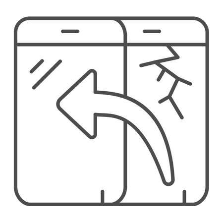 Replacement touch screen thin line icon, pcrepair concept, broken, new screen vector sign on white background, smartphone screen outline style for mobile concept and web design. Vector graphics. Vettoriali
