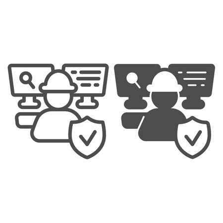 IT specialist at work line and solid icon, pcrepair concept, IT specialist vector sign on white background, man in helmet at work outline style for mobile concept and web design. Vector graphics.