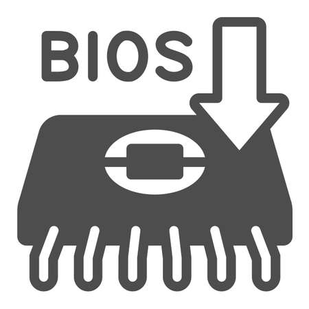 Microcircuit with BIOS chip solid icon, pcrepair concept, BIOS chip vector sign on white background, BIOS chip and arrow glyph style for mobile concept and web design. Vector graphics.