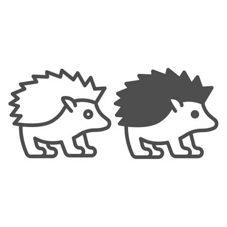 Hedgehog line and solid icon, worldwildlife concept, hedgehog vector sign on white background, hedgehog outline style for mobile concept and web design. Vector graphics.
