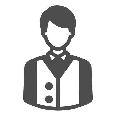 Bartender or waiter in uniform, barkeeper solid icon, catering concept, employee vector sign on white background, glyph style icon for mobile concept and web design. Vector graphics.