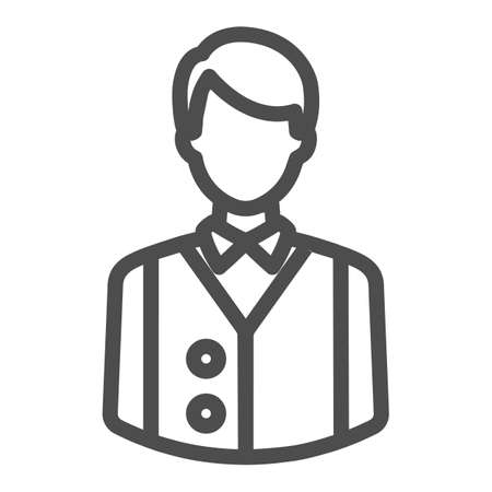 Bartender or waiter in uniform, barkeeper line icon, catering concept, employee vector sign on white background, outline style icon for mobile concept and web design. Vector graphics.